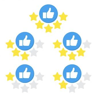 Set di icone di valutazione con la mano e la stella