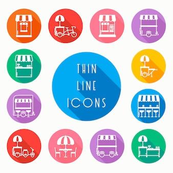 Set di icone di vendita al dettaglio di cibo di strada