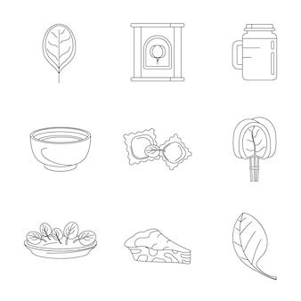 Set di icone di verdure di foglie di spinaci