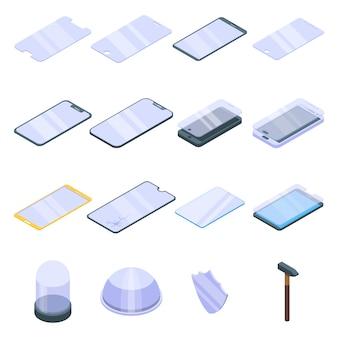 Set di icone di vetro protettivo, stile isometrico