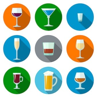 Set di icone di vettore design piatto alcol occhiali