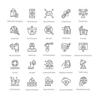 Set di icone di vettore di linea di protezione
