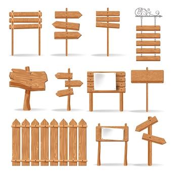 Set di icone di vettore di segni di direzione e segnali in legno