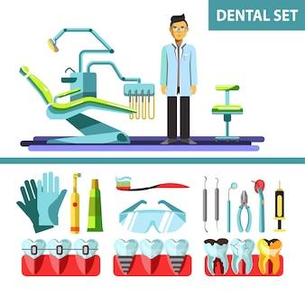 Set di icone di vettore piatto dentale