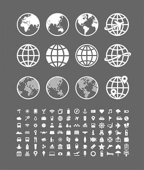 Set di icone di viaggio. accumulazione astratta dei segni di vettore del globo del mondo. simboli di viaggio e di vacanza