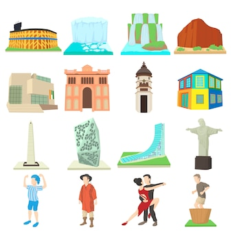 Set di icone di viaggio argentina