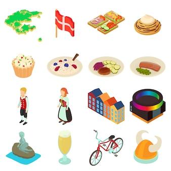 Set di icone di viaggio danimarca. un'illustrazione isometrica di 16 icone di vettore di viaggio della danimarca per il web