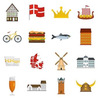 Set di icone di viaggio danimarca