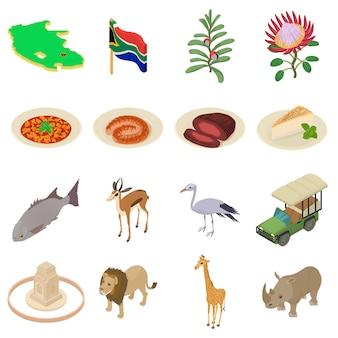 Set di icone di viaggio del sud africa. un'illustrazione isometrica di 16 icone di vettore di viaggio del sud africa per il web