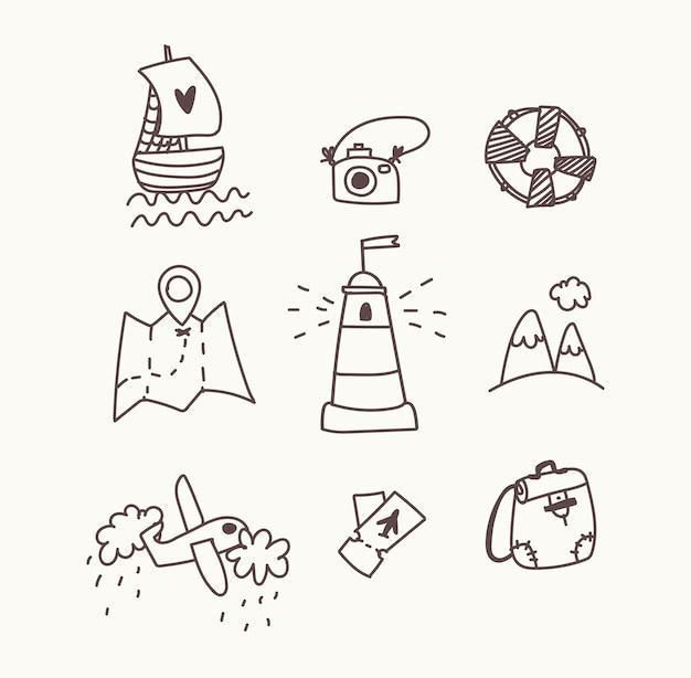 Set di icone di viaggio. disegnare a mano