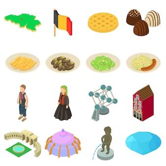 Set di icone di viaggio germania. un'illustrazione isometrica di 16 icone di vettore di viaggio della germania per il web