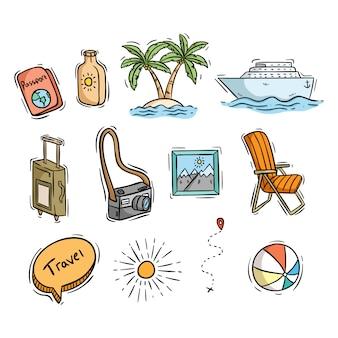 Set di icone di viaggio o estive con stile disegnato a mano