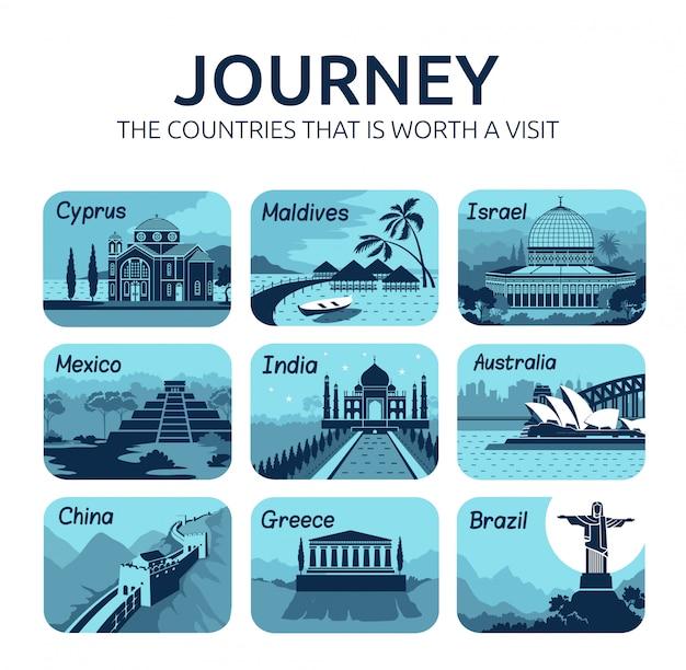 Set di icone di viaggio piatto con diversi paesi.
