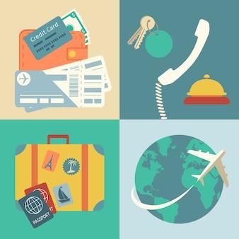 Set di icone di viaggio vacanza
