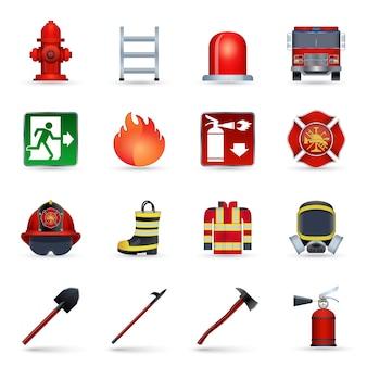 Set di icone di vigile del fuoco