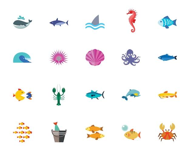 Set di icone di vita di mare
