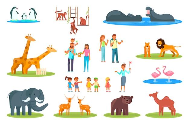 Set di icone di zoo. vector piatta illustrazione di animali da zoo e visitatori famiglie felici