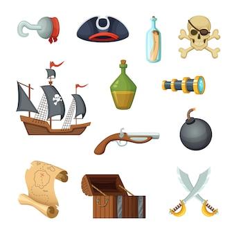 Set di icone differenti del tema dei pirati. cranio, mappa del tesoro, nave da guerra del corsaro e altri oggetti in stile vettoriale