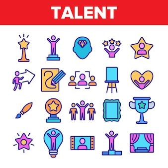 Set di icone diverse talento umano
