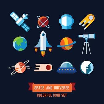 Set di icone e illustrazioni piatte. pianeti, razzi, stelle