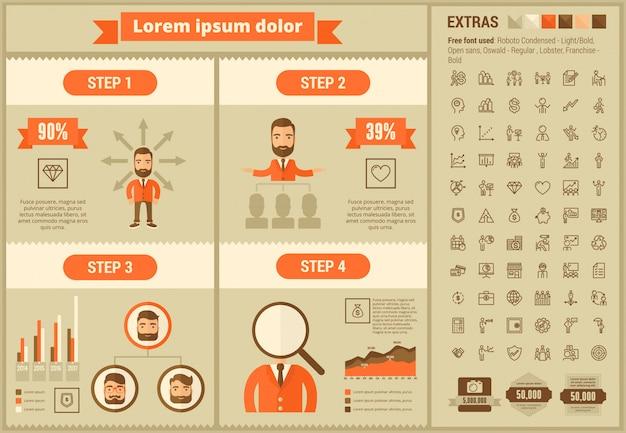 Set di icone e modello infografica design piatto di affari