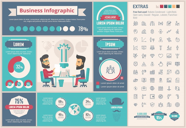 Set di icone e modello infografica design piatto di affari
