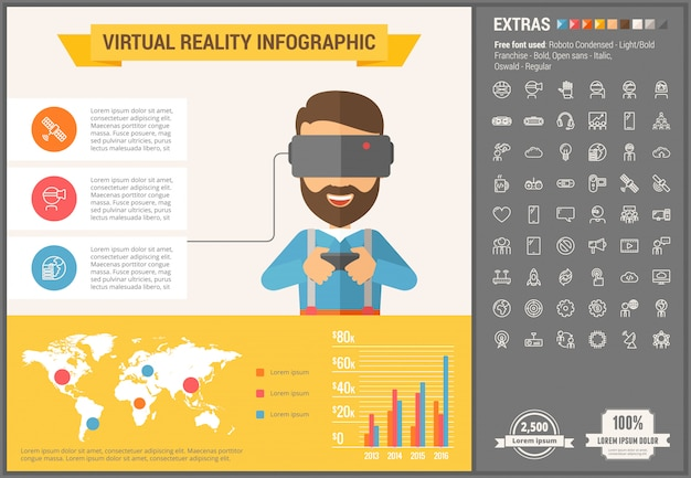 Set di icone e modello infografica design piatto di realtà virtuale