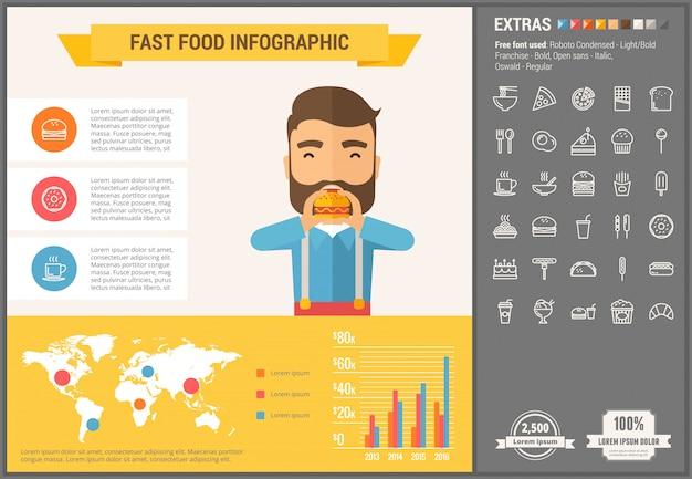 Set di icone e modello infografica design piatto fast food