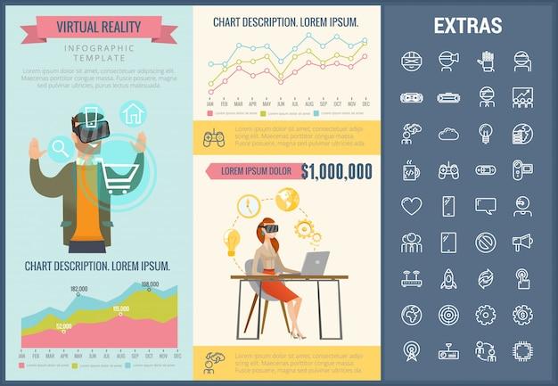 Set di icone e modello infographic di realtà virtuale