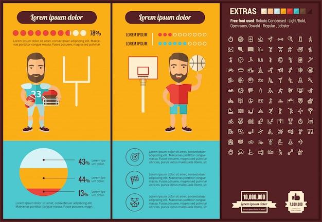 Set di icone e modello infographic di sport design piatto