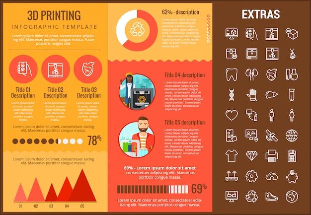 Set di icone e modello infographic di stampa 3d