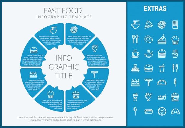 Set di icone e modello infographic fast food