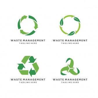 Set di icone eco riciclato. ricicli il simbolo di ecologia delle frecce su fondo bianco