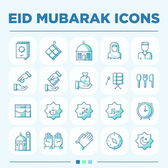 Set di icone eid mubarak