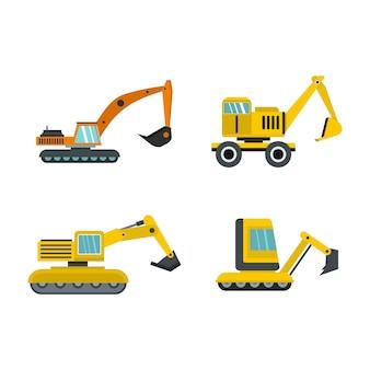 Set di icone escavatore. insieme piano della raccolta delle icone di vettore dell'escavatore isolato