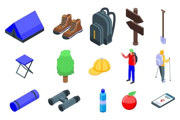 Set di icone escursionismo, stile isometrico