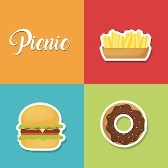 Set di icone estate pic-nic