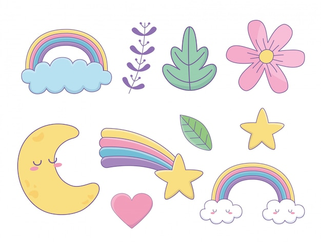 Set di icone fantasy stili di kawaii