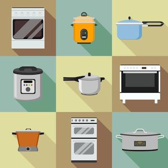 Set di icone fornello da cucina. set piatto di icone di cucina fornello per il web design