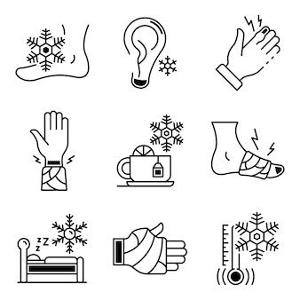 Set di icone frostbite. insieme di contorno di icone vettoriali di congelamento