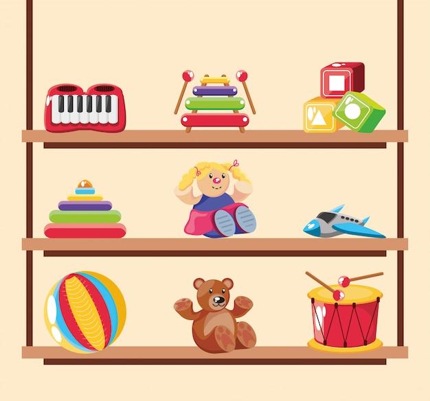 Set di icone giocattolo per bambini in superficie in legno