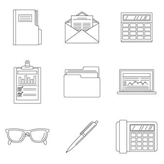 Set di icone giorno contabilità internazionale
