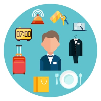 Set di icone hotel uomo intorno a icone di oggetti di hotel in design piatto