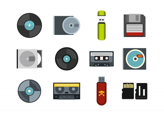 Set di icone informazioni di archiviazione. insieme piano della raccolta delle icone di vettore di informazioni di stoccaggio isolato