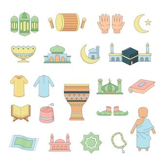 Set di icone islamiche