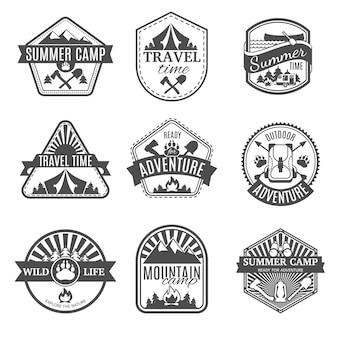 Set di icone isolato campeggio