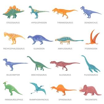Set di icone isolato colorato di dinosauri