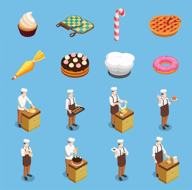 Set di icone isometriche chef di pasticceria