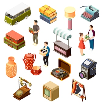 Set di icone isometriche del mercato delle pulci