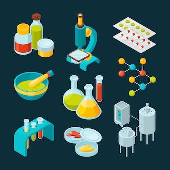 Set di icone isometriche dell'industria farmaceutica e tema scientifico